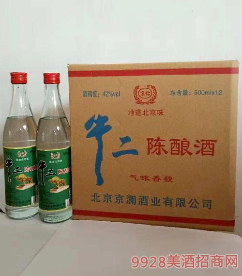 京佑牛二陈酿酒42度500mlx12