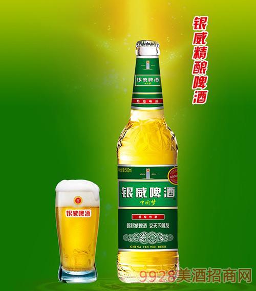 银威精酿啤酒中国梦白瓶8度500ml 1*12瓶/箱