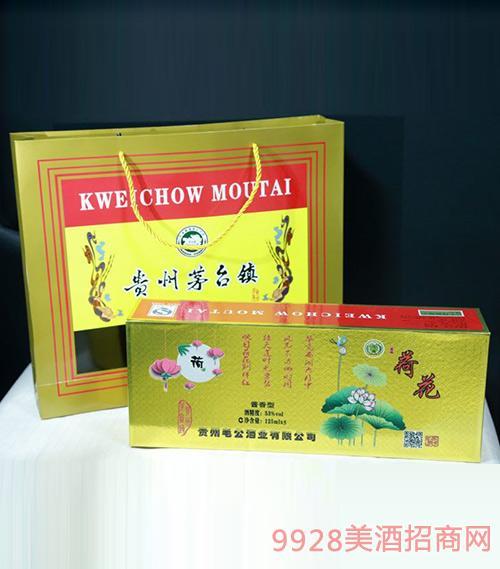 清韵荷花酒礼盒53度125ml