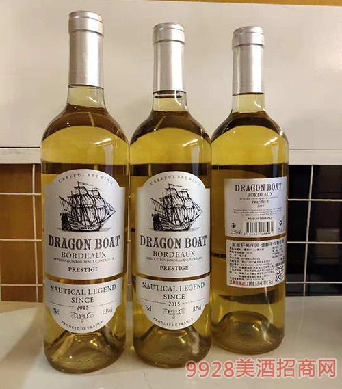 法国龙船轩易庄园佳酿干白葡萄酒13.5度750ml