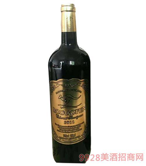 澳芬袋鼠袋鼠赤霞珠红葡萄酒13度750ml