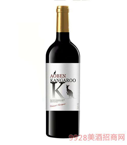 澳奔袋鼠赤霞珠干红葡萄酒14度750ml