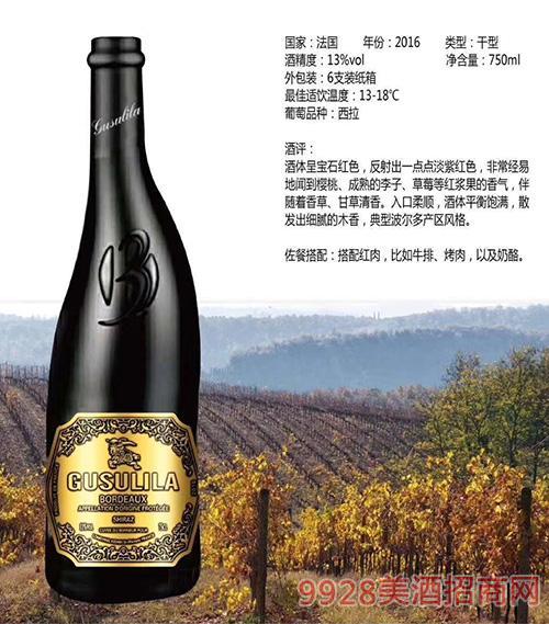 法国依若尔干红葡萄酒13度750ml