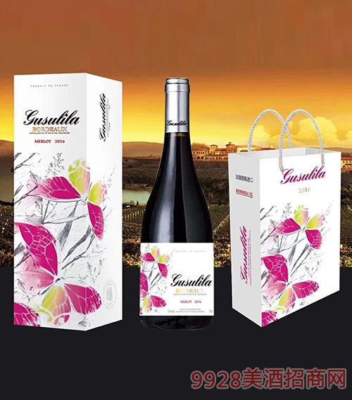 法国古苏里拉红天使干红葡萄酒13度750ml