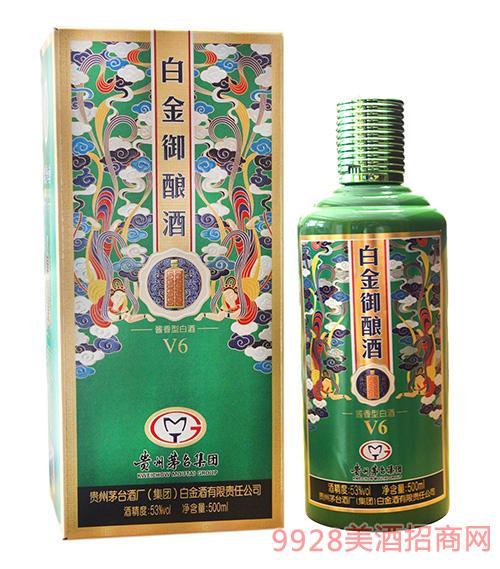 贵州茅台酒厂(集团)白金酒有限责任公司出品白金御酿酒V6绿色