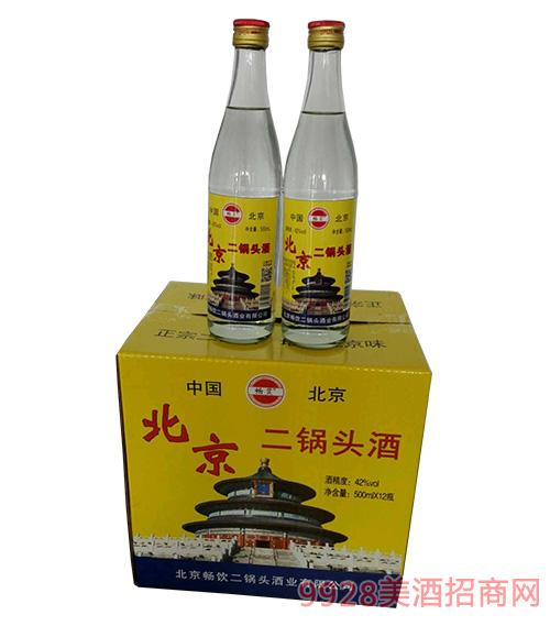 北京二锅头(黄瓶)酒42度500mlx12