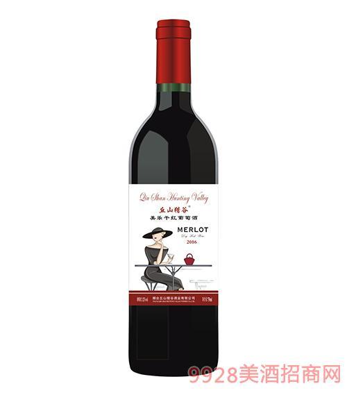 丘山猎谷美乐2016干红葡萄酒12度750ml