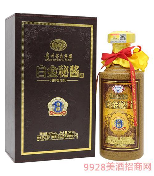 白金秘酱酒皮盒金樽53度500ml