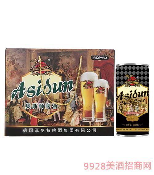 奥斯顿啤酒黑啤1000mlx4