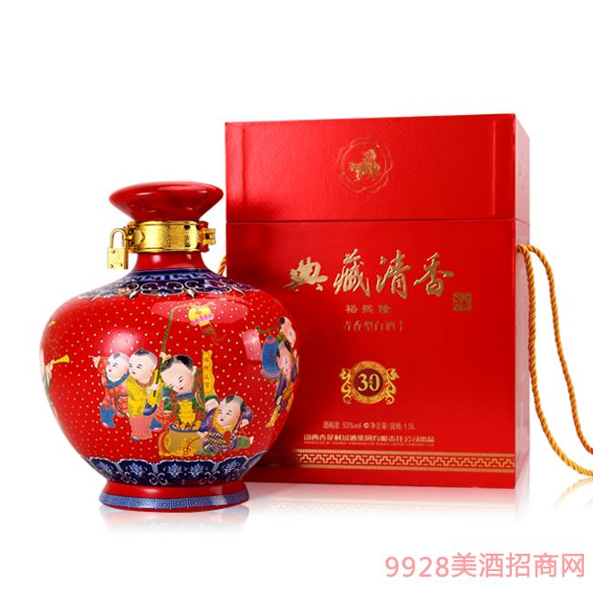 典藏清香酒53度三斤红色装30年