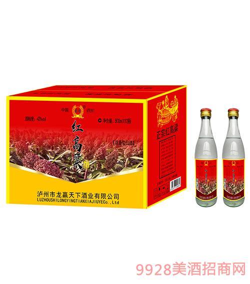 龙迎红高粱酒42度500mlx12