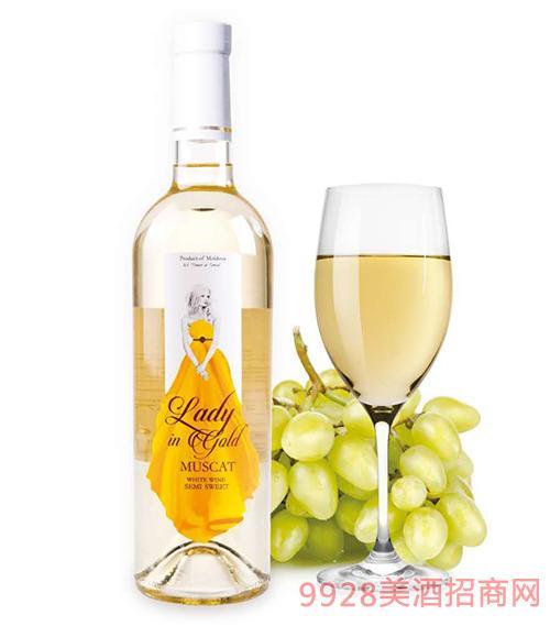 金夫人半甜白葡萄酒12度750ml