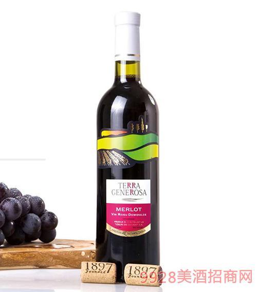 绿野梅洛半甜红葡萄酒12度750ml