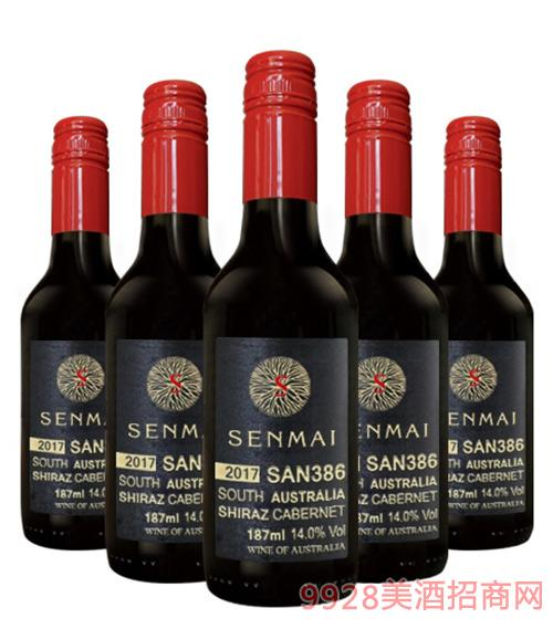 澳洲森脉SAN386南澳西拉子干红葡萄酒14度187ml