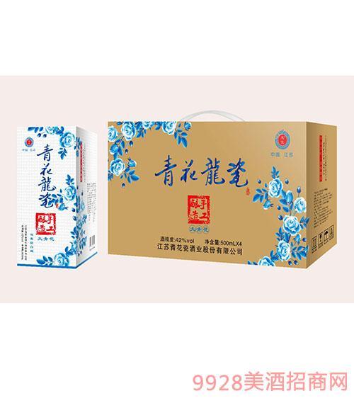 青花龍瓷手工酿造大青花酒42度500mlx4