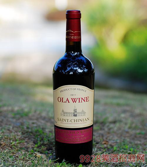 法国欧拉2011干红葡萄酒13.5度750ml