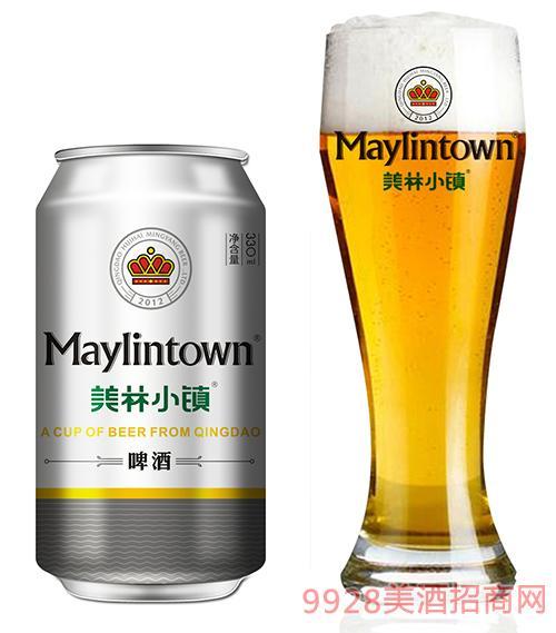 美林小镇啤酒330ml银罐