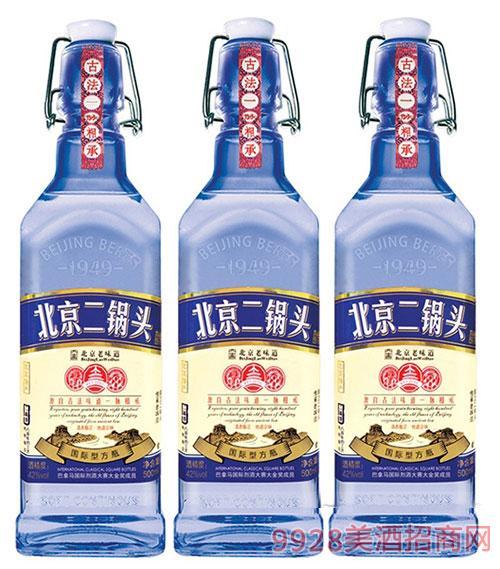 北京二锅头国际型小方瓶蓝瓶