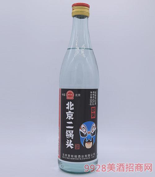 君有福北京二锅头酒蓝脸谱42度500ml