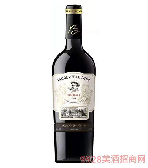 法斯达波尔多老藤干红葡萄酒15度750ml