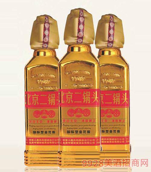 北京二��^酒出口型小方瓶(金��版)42度500ml清香型白酒