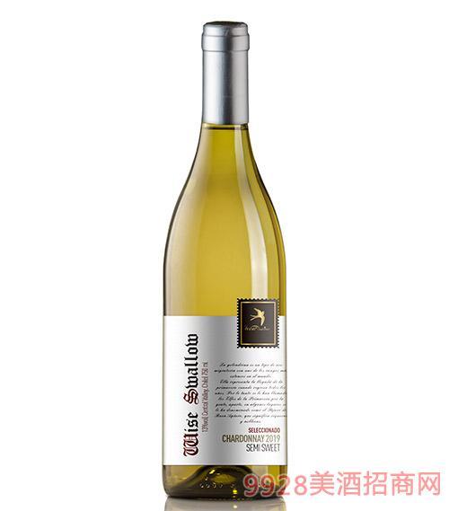 智燕精选霞多丽半甜白葡萄酒13度750ml