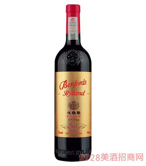 奔富海兰酒庄家族牌408西拉干红葡萄酒