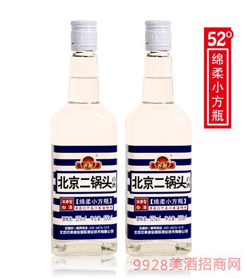 農派北京二鍋頭綿柔小方瓶52度500ml