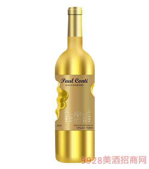 保罗康蒂金钻葡萄酒14度750ml