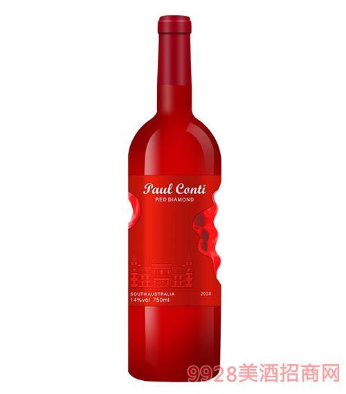 保罗康蒂红钻葡萄酒14度750ml