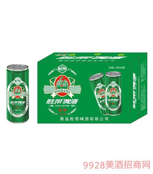 胜带啤酒精致(绿色)330ml*24罐