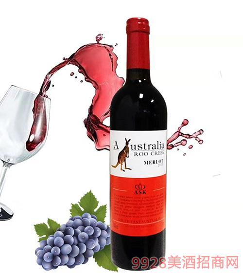 澳谷飞奔袋鼠西拉干红葡萄酒14°750ml