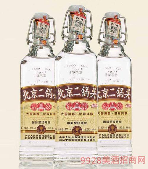 北京二��^酒出口型小方瓶52°500ml清香型白酒