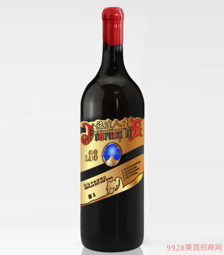 旅途人生西拉干紅葡萄酒L88-13.5度3L