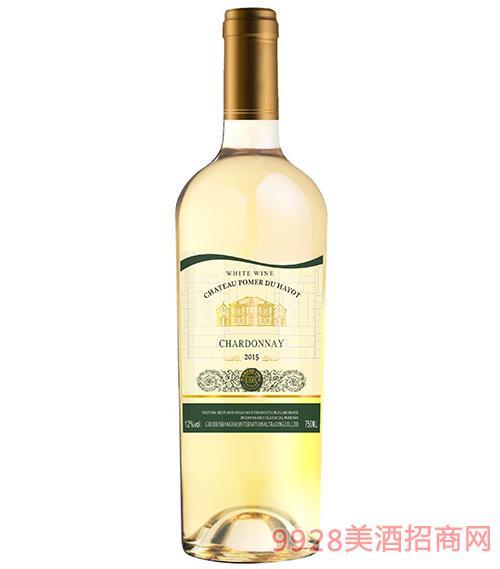 酒�f霞多��干白葡萄酒12度750ml