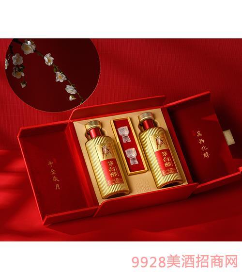 茅台醇邮票文化酒(牛金岁月)(红瓶)-柔和酱香型【53度-500ml】