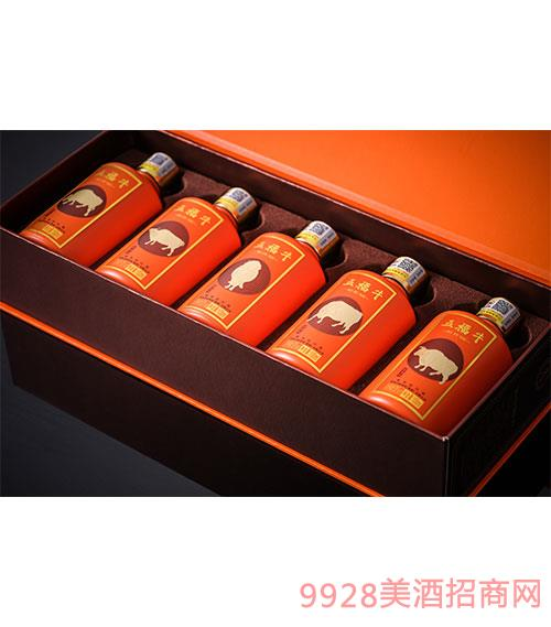 五福牛酒手提袋-酱香型白酒【53度-100ml】