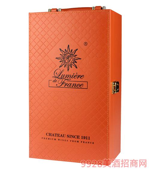 双支装橘色皮盒(含酒具)