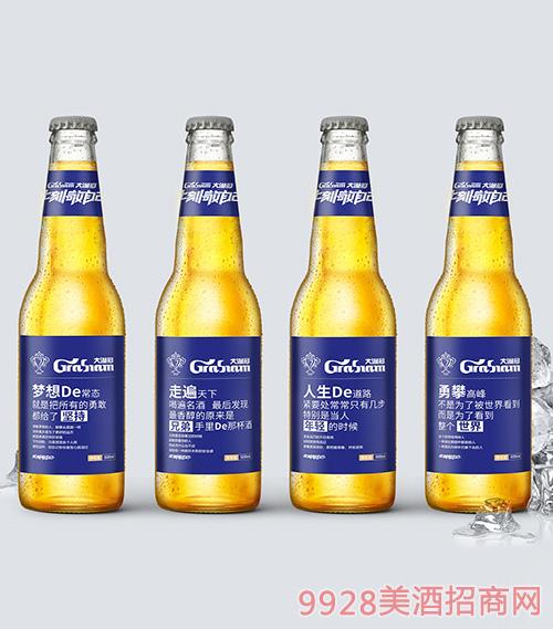 大满冠啤酒文案语录500ml瓶蓝标