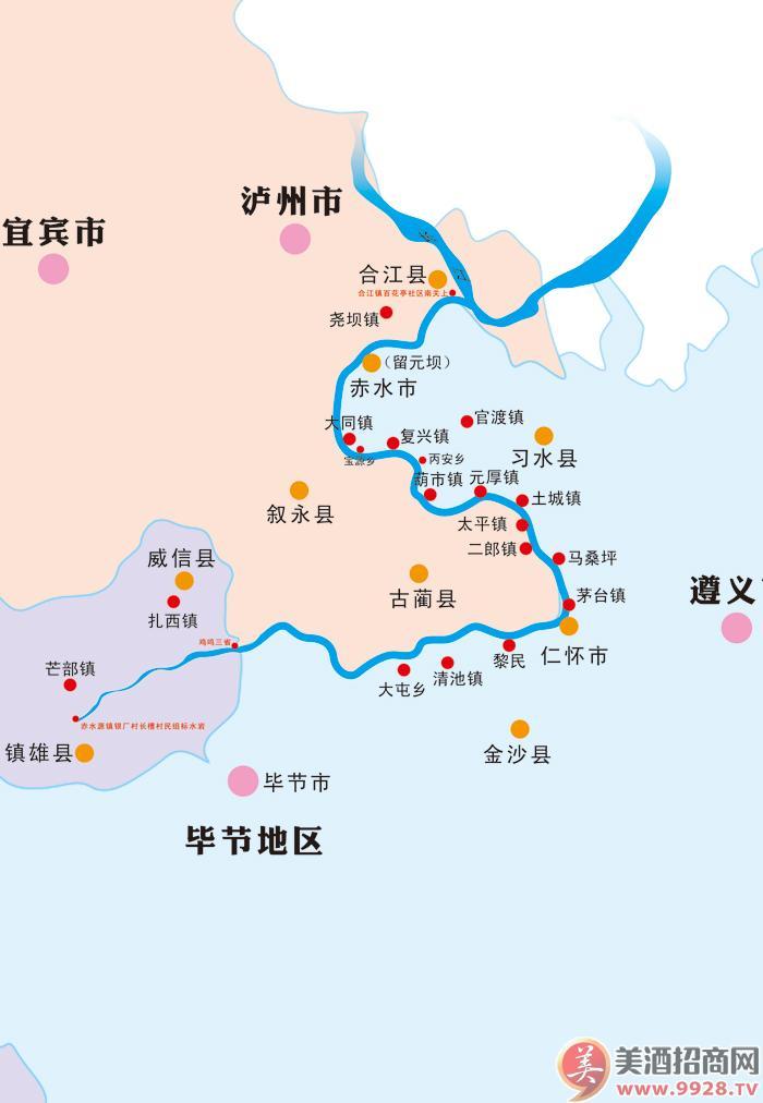赤水河流经地图
