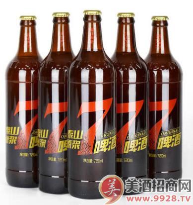 泰山原浆啤酒 七天鲜活 10度麦芽 720ml经典深棕色瓶