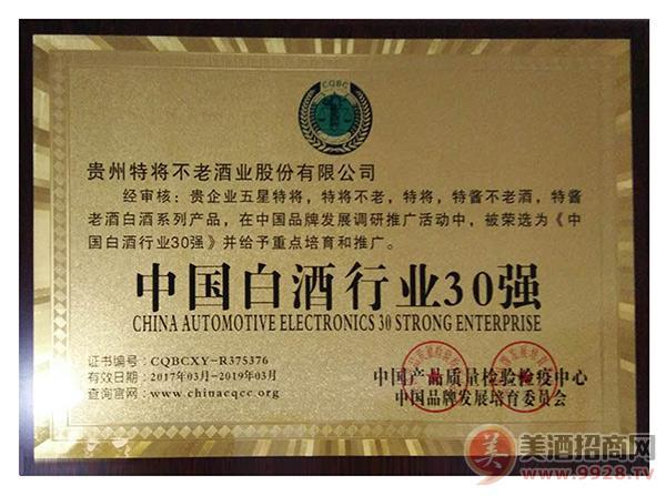 中国白酒行业30强奖牌