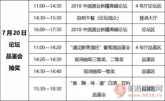 2018新疆糖酒会7月20日活动表一览