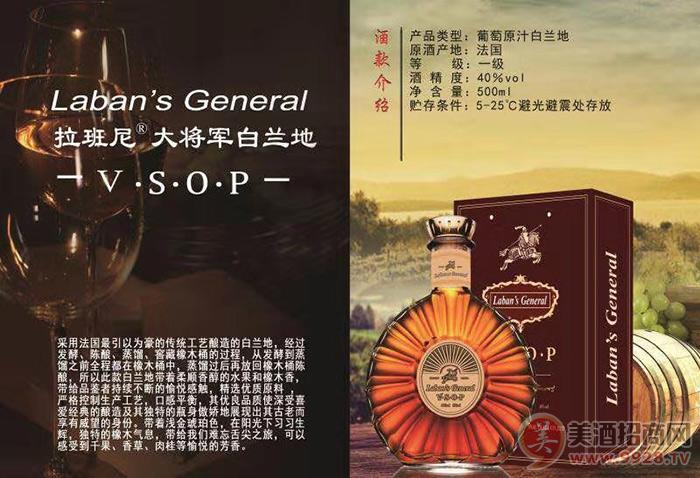 拉班尼大将军VSOP白兰地瓶40度500ml