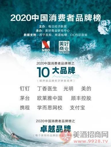 """茅台入选""""美好生活2020中国消费者品牌榜十大品牌"""""""