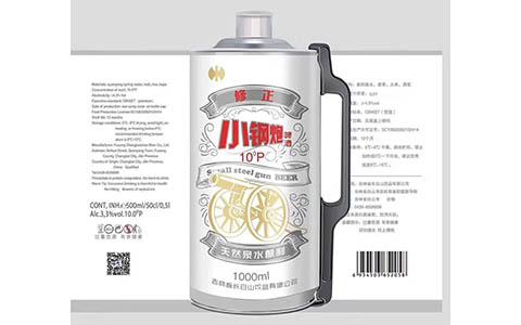 【发现美酒】修正小钢炮啤酒1000ml白色