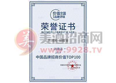 中国品牌招商价格TOP100荣誉证书