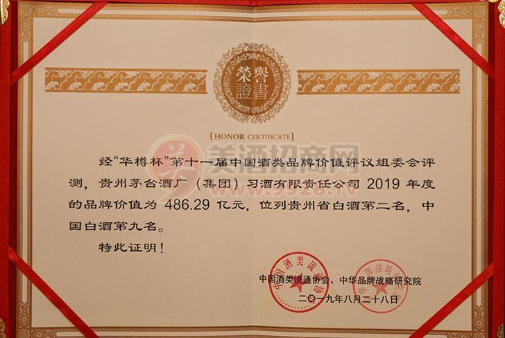 """第十一届""""华樽杯""""位列中国白酒第九名,贵州省白酒第二名"""