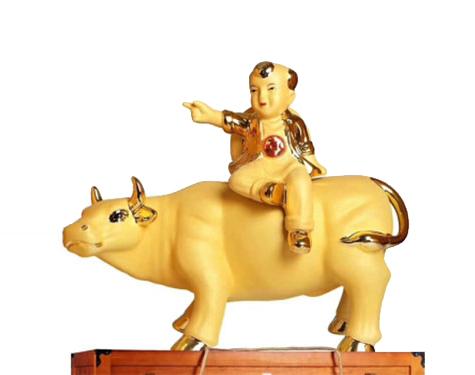 牧童骑牛珐琅瓷酒